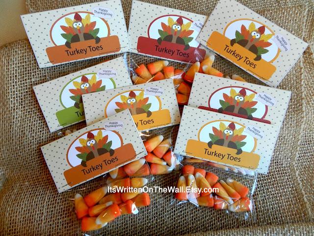 Turkey Toes (Candy Corn) Bag Topper-Fun Treat