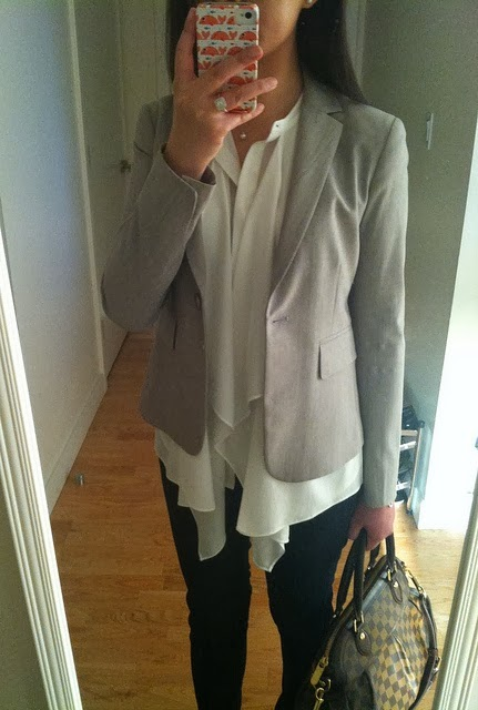 Work outfits loose ruffled blouse and fitted blazer