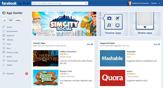 Pagina de aplicatii Facebook permite cautarea de aplicatii web si mobile