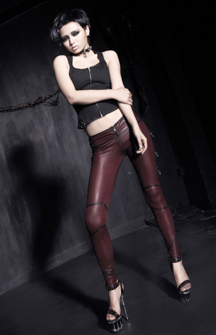 Wine Red Sexy Punk Pants for Women