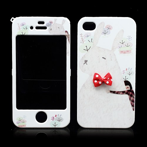 Happymori Rabbit : Front & Back Snap-On Hard Case for iPhone 4 4S