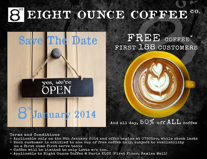 Eight Ounce Coffee Co - FREE Coffee For First 188 Customers (8 Jan)