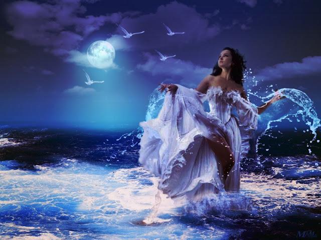 Muchacha, luna y mar