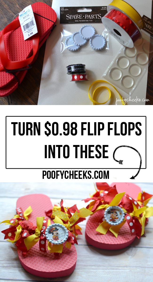 DIY Disney Vacation Ribbon Flip Flops - Ribbon Sandal Tutorial