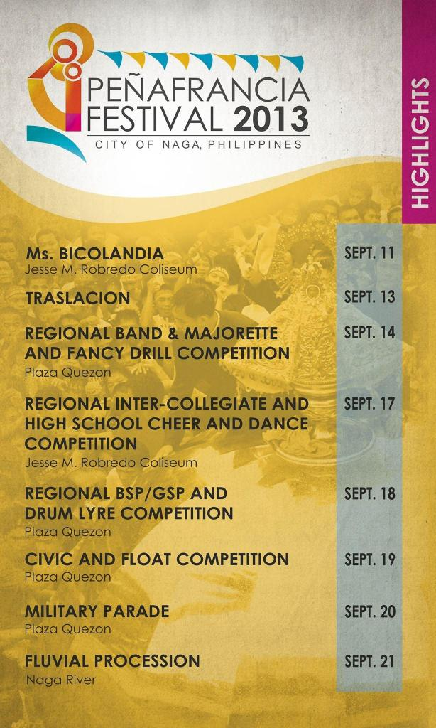 Our Lady of Peñafrancia Festival 2013 calendar of activities