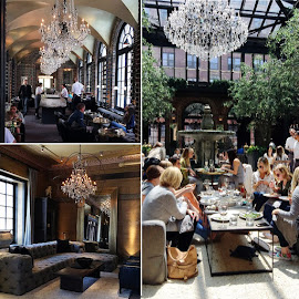 Restoration Hardware's 3 Arts Club Cafe with chandeliers, fountains, delicious food and furniture.
