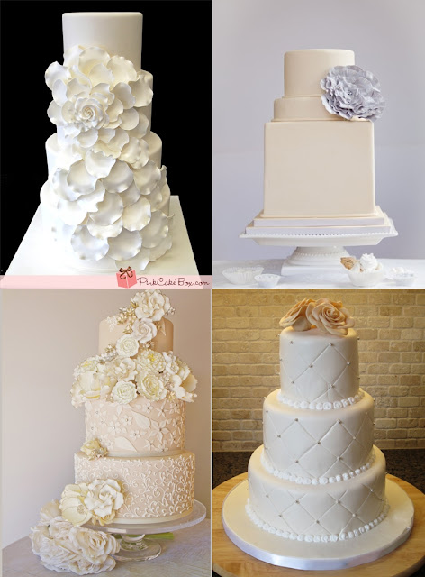 Beautiful cream and white smooth texture cakes