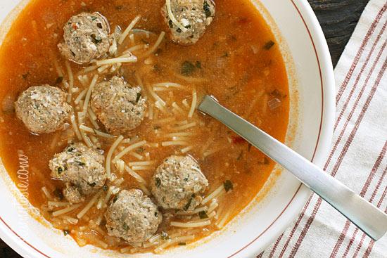 Meatball and Spaghetti Soup | Skinnytaste