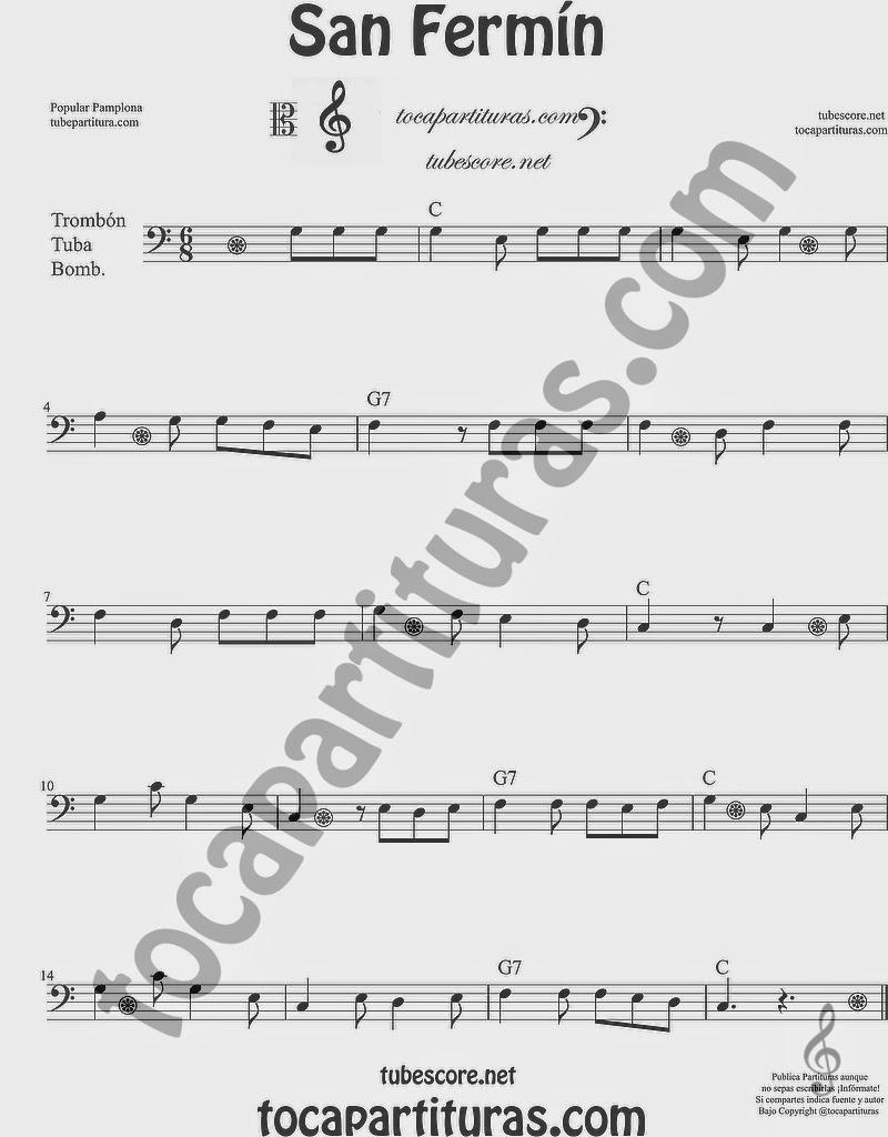 San Fermín Partitura de Trombón, Tuba Elicón y Bombardino Sheet Music for Trombone, Tube, Euphonium Music Scores