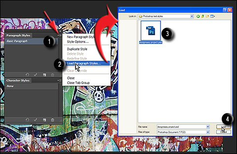 Steps to load Paragraph styles in Photoshop CS6