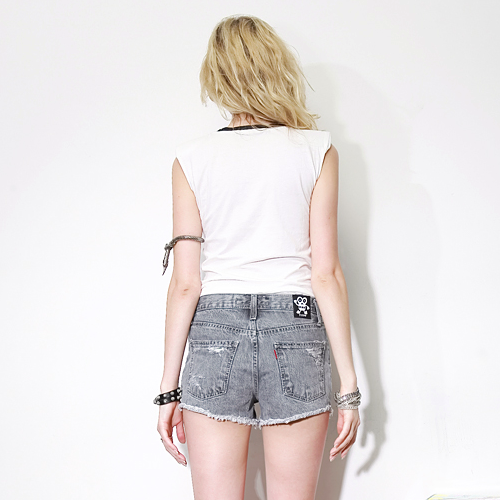 Black Stone Washed Denim Shorts