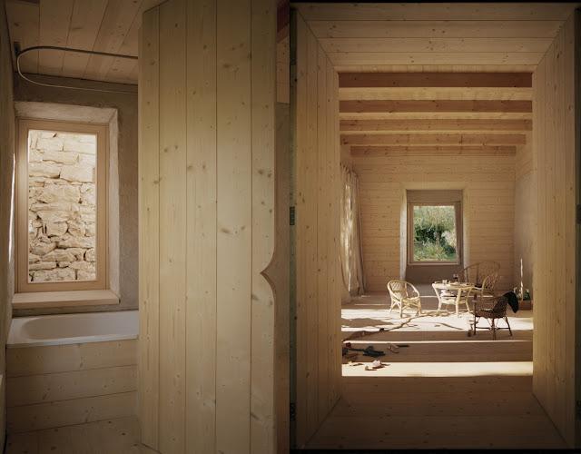 Gartenhaus als Gästehaus mit versiertem Holzbau und Fichtenholz-Innendämmung