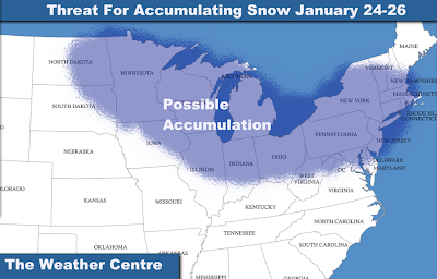 am monitoring the threat for accumulating snow from January 24th to