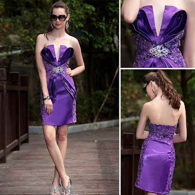 Purple Strapless Short/Mini Dress
