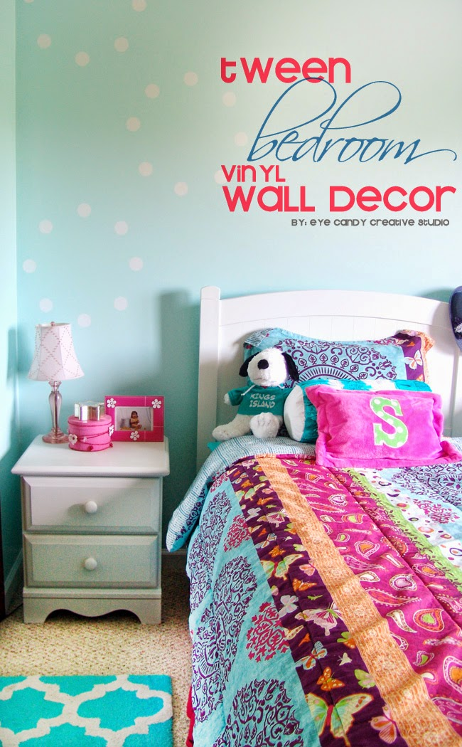 tween room, tween wall decor, bedroom makeover, vinyl on walls