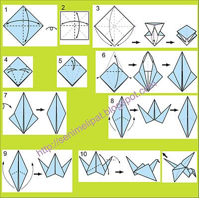 seni+melipat+kertas+membuat+burung Cara Membuat Kerajinan Tangan Dari Kertas Origami