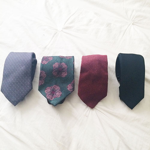 thrifted designer ties, vintage ties, christian dior tie, yves saint laurent tie