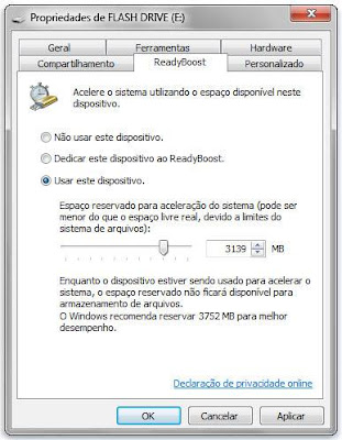 Propriedades Flash Drive