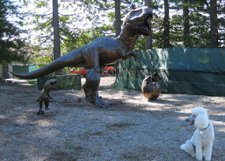 T-Rex and dinosaur statues in the Skyland community, Santa Cruz Mountains, California