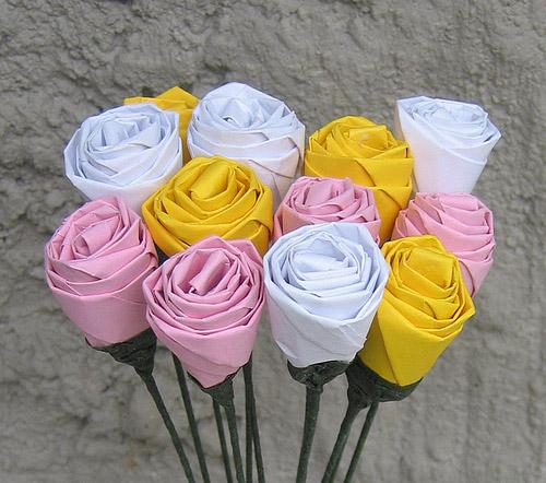 rosas origami papel