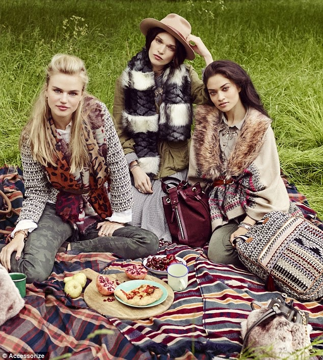 Accessorize Fall/Winter 2014 Campaign featuring Shanina Shaik, Anna Brewster, and Milou Sluis