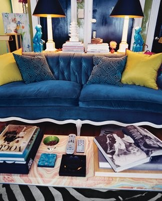blue velvet sofa living room