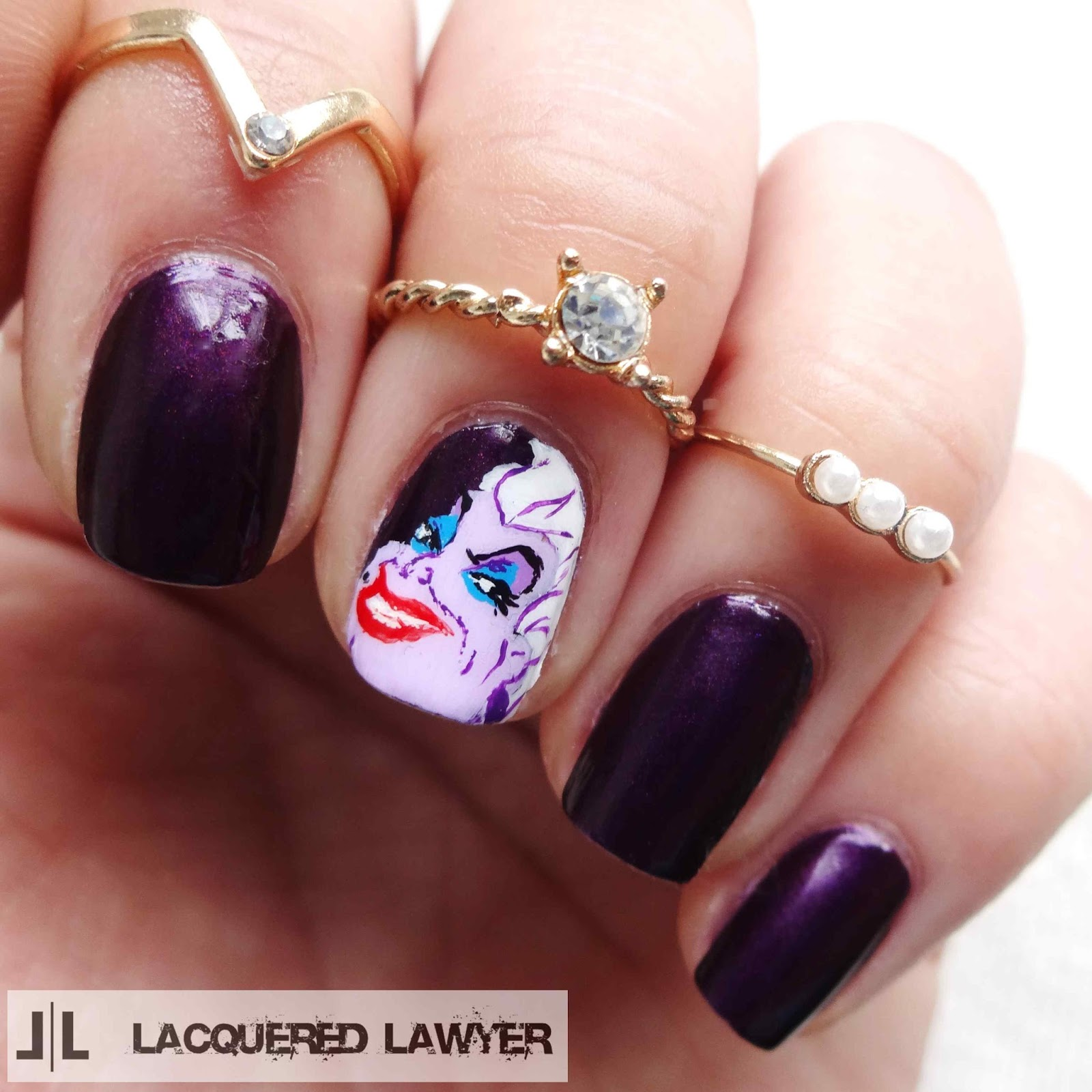 Ursula Little Mermaid Nail Art