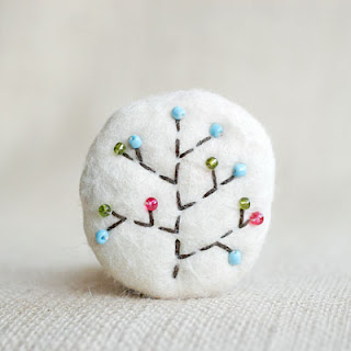 tree of life folk wool brooch felted from scraps