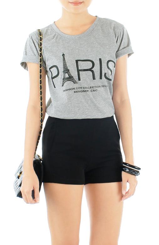 Parisian Eiffel Tower Tee - Grey