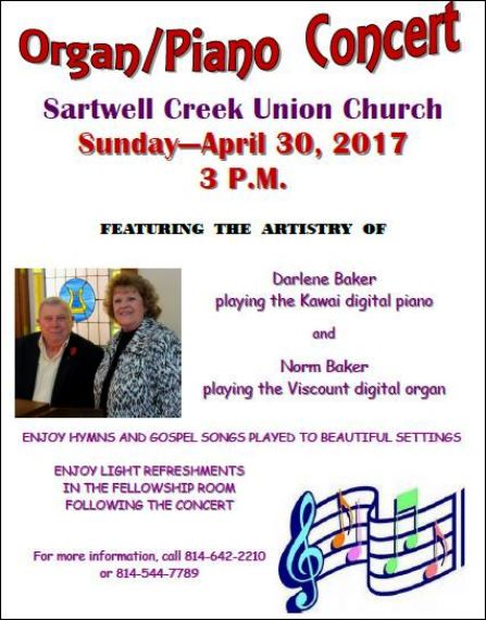 4-30 Organ/Piano Concert Sartwell Union Church
