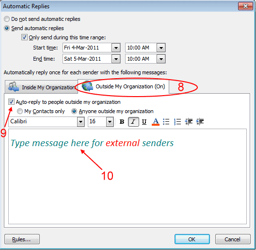 How to set out of office in outlook 2010 esupport - Set up out of office in outlook ...