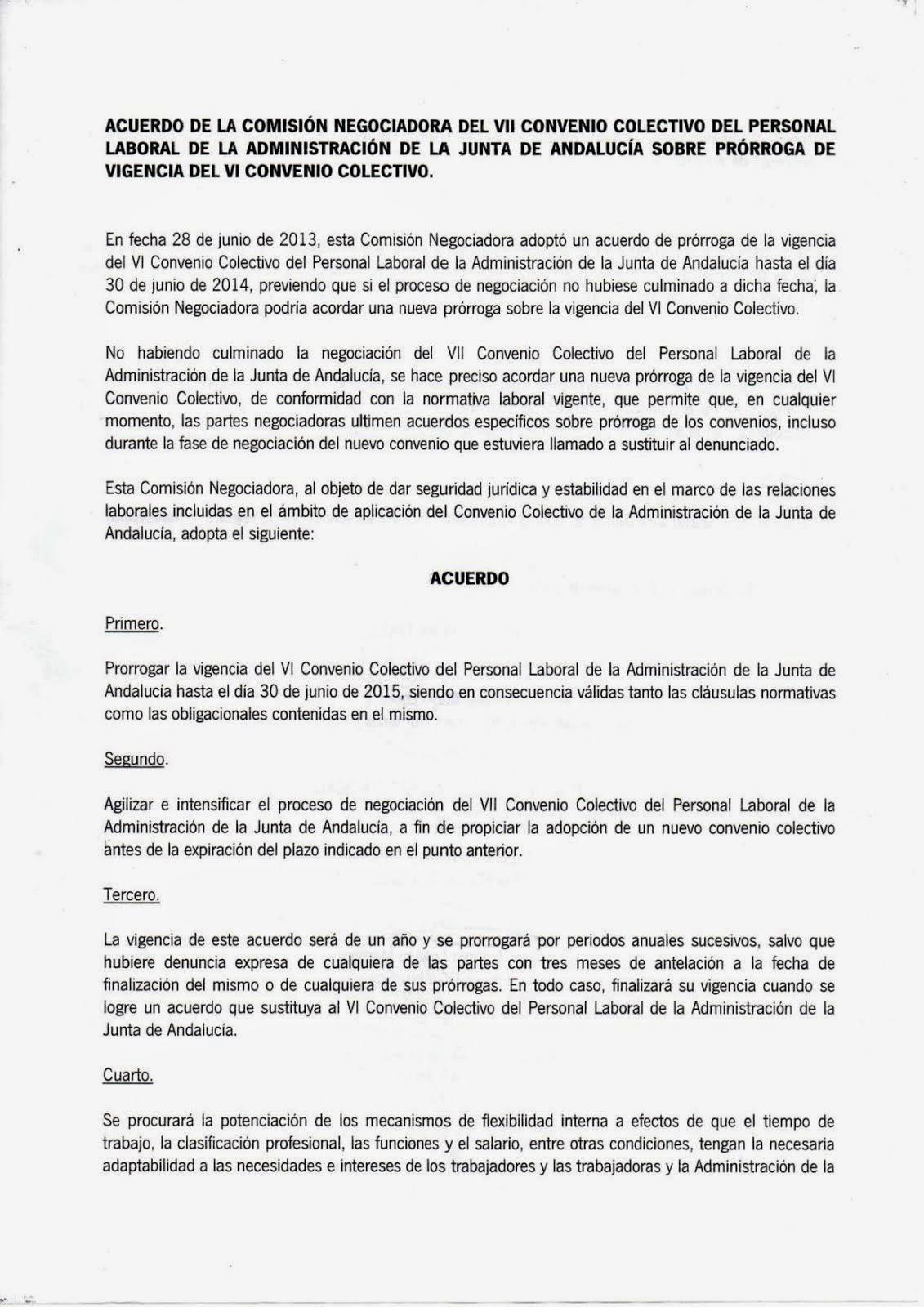 Prorrogado el VI Convenio hasta el 30 de Junio de 2015