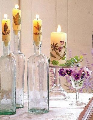 garrafas como castiçal