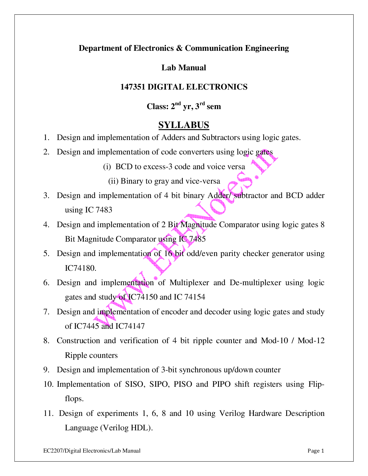 digital electronics lab manual all experiments vidyarthiplus v rh vidyarthiplus in General Chemistry Lab Manual Lab Manual Uhart