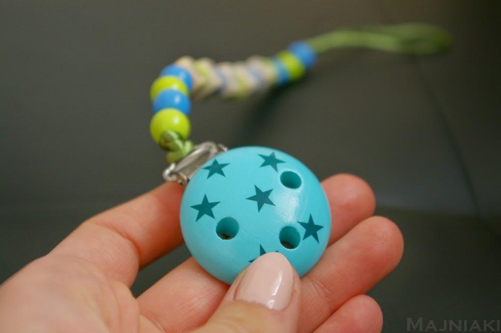 niebieska, zielona, imienna zawieszka do smoczka z koralików, klips do smoczka