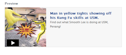 Man in yellow tights showing off his Kung Fu skills at USM.