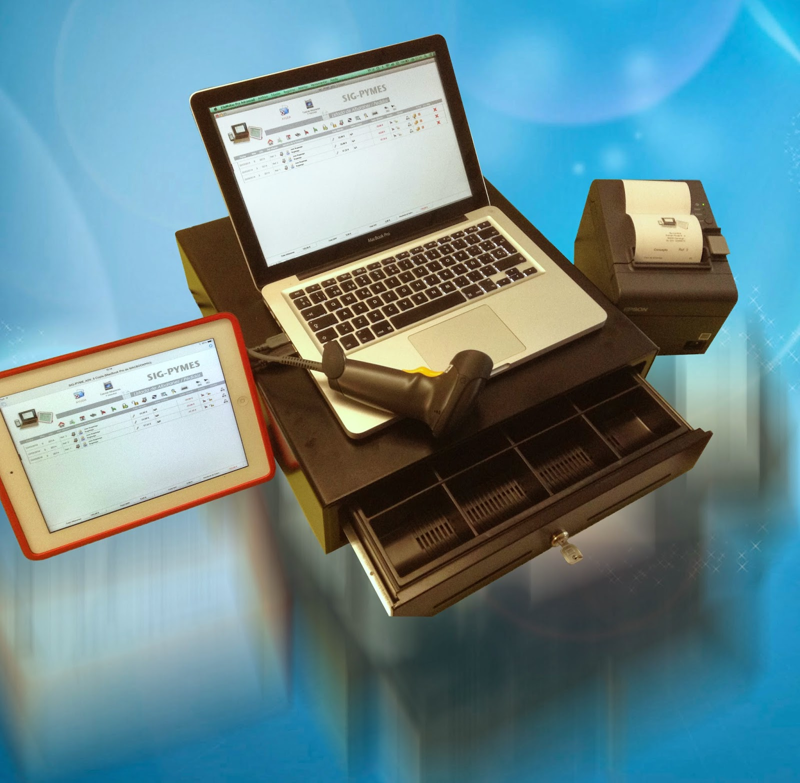 Sig Pyme para Mac con lector de codigo de barras, impresora de ticket y caja monedas