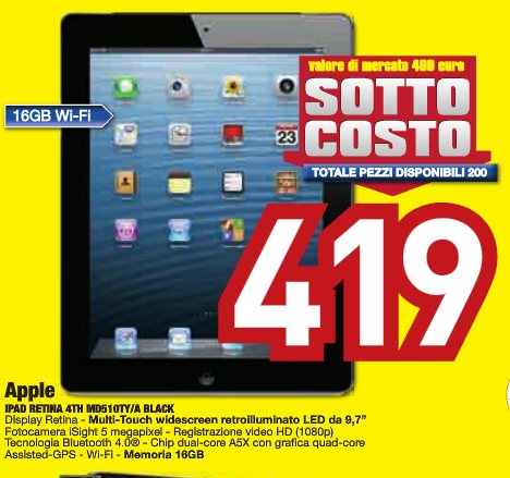 Un ottima offerta del gruppo Siem Euronics che propone sottocosto il tablet Apple iPad di 4a generazione
