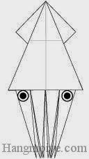 Bước 16: Vẽ mắt để hoàn thành cách xếp con cá mực bằng giấy theo phong cách origami.
