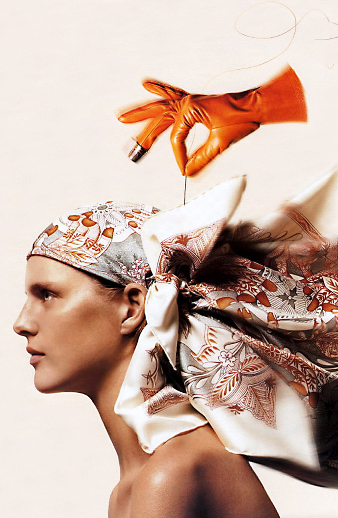 via fashioned by love | Stella Tennant in Hermes Spring/Summer 2002 campaign photographed by Thomas Schenk