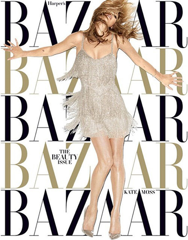 Kate Moss for Topshop in Harper's Bazaar USA photographed by Terry Richardson, champagne flapper tasseled dress