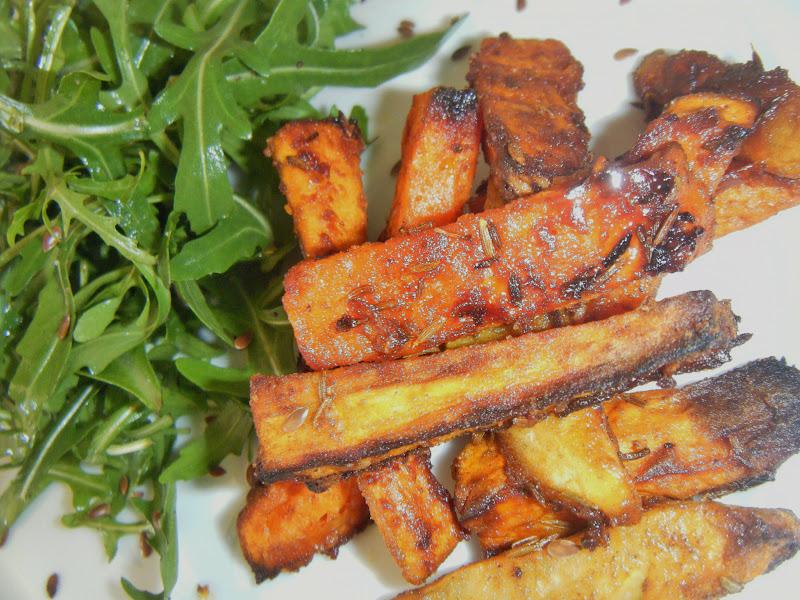 Midi cuisine l gumes d 39 hiver fa on frites au four topinambours patate douce et panais - Facon de couper les legumes ...