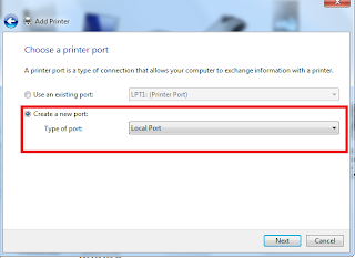 "Click  ""Create new port:"" and then  select ""Add a local printer""."