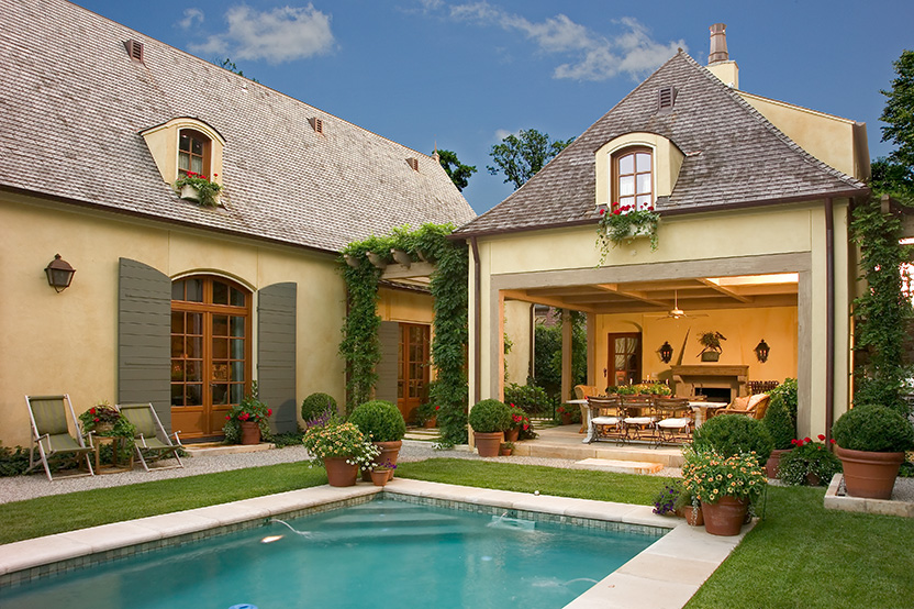 our french inspired home french style landscaping using terracotta