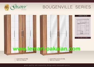 Lemari Pakaian Murah 4 Pintu Bougenville Series Graver Furniture