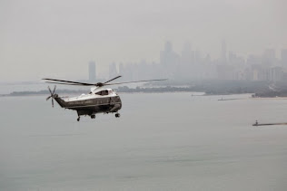THE PREISIDENT FLIES OVER LAKE MICHIGAN