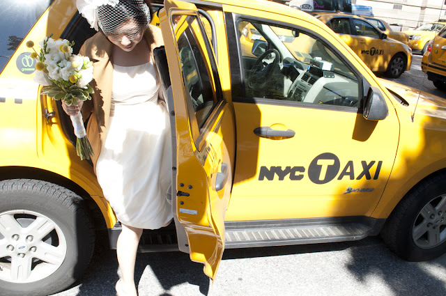 Bride exits taxi at Central Park destination