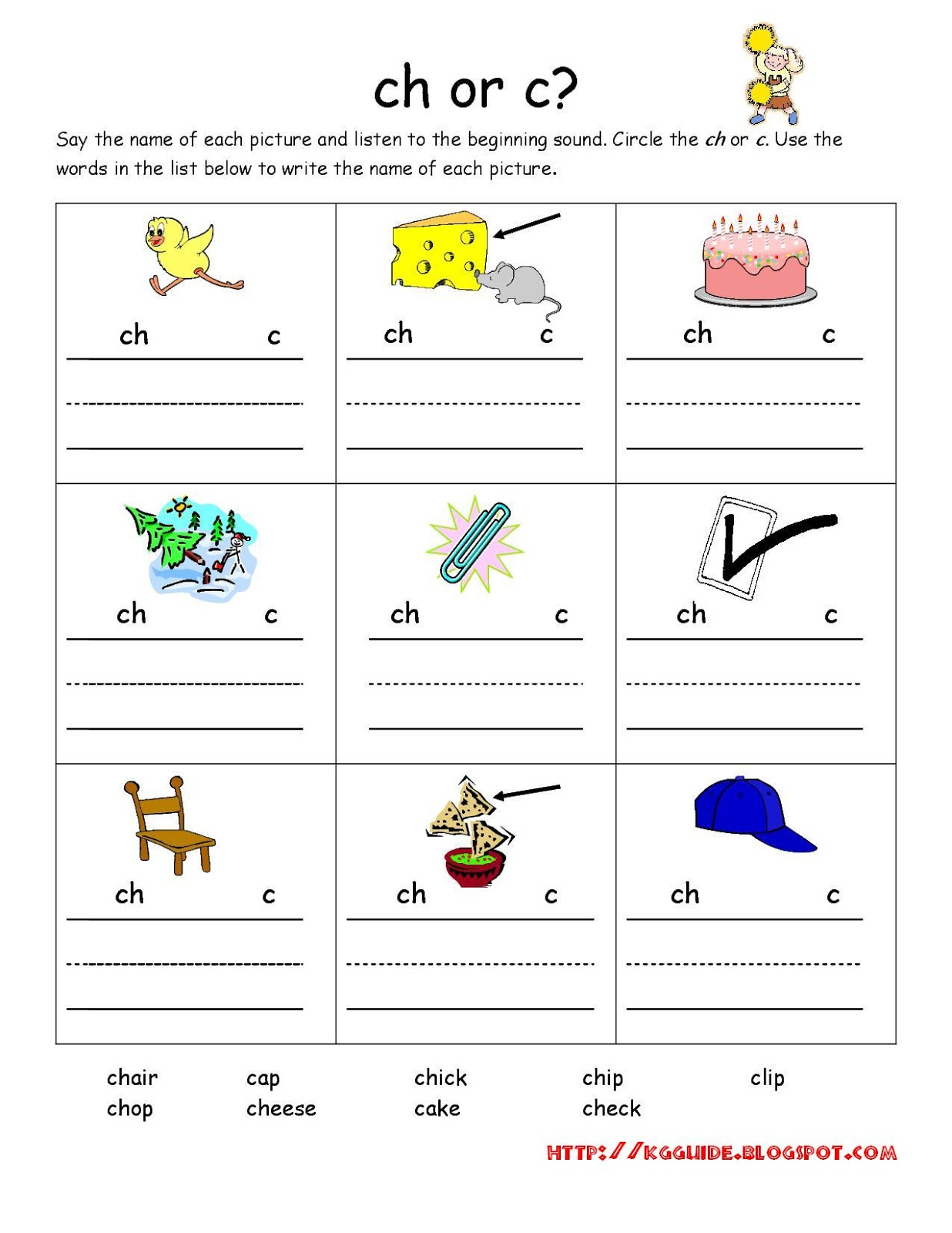 worksheet Ch Worksheet ch words worksheet for kindergarten students students