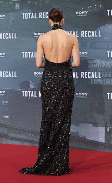 Jessica Biel in a sexy backless floor-length black gown at the Berlin premiere of her movie, 'Total Recall', held at the Sony Center in Berlin, Germany.