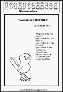 Poesia o passarinho fofoqueiro